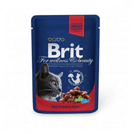 Brit Premium Pouches Biftekli Bezelyeli Kedi Konservesi 6x100 Gr