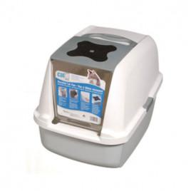 Kapalı Kedi Tuvalet Kabini Beyaz Gri 57x46,5x39 Cm