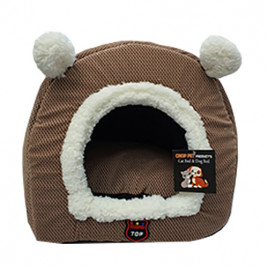 Eskimo Kulaklı Kedi Yuvası Açık Kahve 40x45 Cm