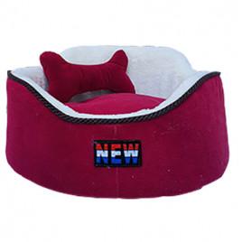 Oval Köpek Yatağı Bordo M 60x60 Cm