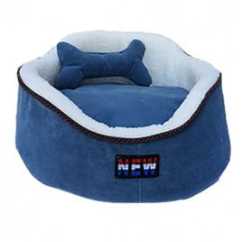 Oval Köpek Yatağı Mavi M 60x60 Cm
