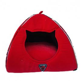 Piramit Fonksiyonel Kedi Yuvası Kırmızı 40x45 Cm