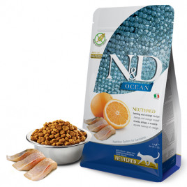 N & D Ocean Ringa Balık&Portakal Tahılsız Kısırlaştırılmış Kedi Maması 1,5 Kg
