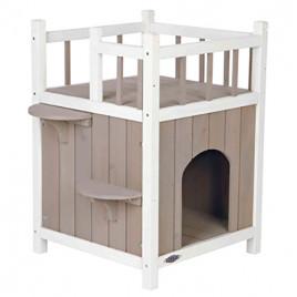 Kedi Evi, Teraslı ve Balkonlu, 45x65x45 Cm, Gri&Beyaz