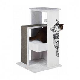 Kedi Tırmalama Oyun Evi, 101cm, Beyaz/Gri