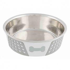 Köpek Mama Su Kabı Beyaz/Gri Paslanmaz Çelik Silikon, 0,75Lt 17 Cm