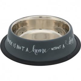Köpek Mama Ve Su Kabı, Paslanmaz Çelik, 070Lt&21 Cm, Gri