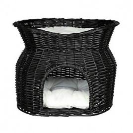 İki Katlı Kedi Yatağı, 54x43x37 Cm Siyah