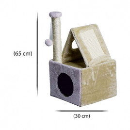 Yuvalı Çatılı Kedi Evi Tırmalama 30x30x65 Cm
